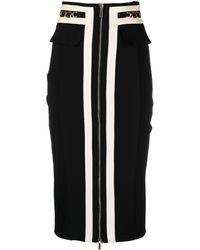 Elisabetta Franchi バイカラースカート - ブラック