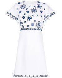 Andrew Gn Vestido corto con aplique floral - Blanco
