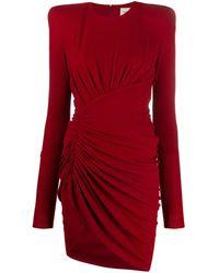 Alexandre Vauthier Vestido midi fruncido y asimétrico - Rojo
