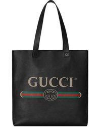 Gucci - プリント レザー トートバッグ - Lyst