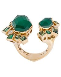 Stephen Webster 'crystal Haze' Emerald And Diamond Ring - Green