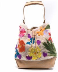 Numero 10 Floral-knit Leather Bucket Bag - Multicolour