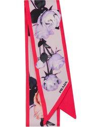 Prada ローズプリント スカーフ - ピンク