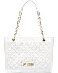 Love Moschino ロゴプレート ハンドバッグ - ホワイト