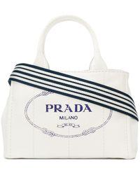Prada White Logo Medium Canvas Tote Bag - Wit