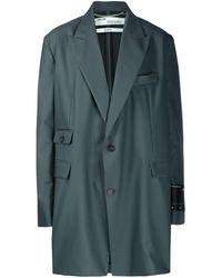 Off-White c/o Virgil Abloh Oversized logo patch coat - Blu