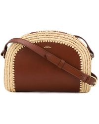 A.P.C. Half Moon Raffia-trimmed Leather Cross-body Bag - Brown