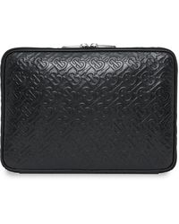 Burberry Monogram Pattern Laptop Case - Black