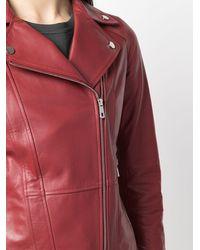 DESA NINETEENSEVENTYTWO Zipped Leather Biker Jacket - Red