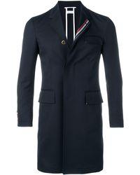 Thom Browne Rwb Stripe Unconstructed Overcoat - Blue