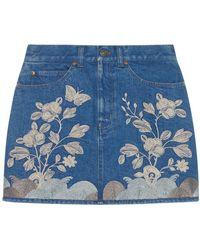 Gucci Embroidered Denim Mini Skirt - Blue