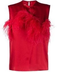 Marques'Almeida Блузка Без Рукавов С Отделкой Перьями - Красный