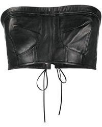 Manokhi Cropped Leather Top - Black