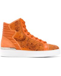 c83730ebb16 Crystal Embellished Trainers - Orange