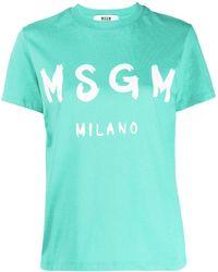 MSGM - Футболка С Круглым Вырезом И Логотипом - Lyst