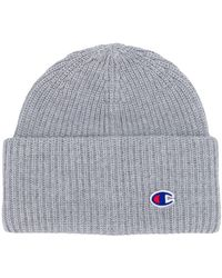 Champion Logo Embroidered Beanie Hat - Gray