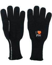Raf Simons Embroidered Gloves - Black
