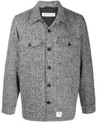 Department 5 Herringbone Knit Shirt Jacket - White