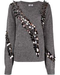 Liu Jo Sequin-embellished V-neck Jumper - Grey