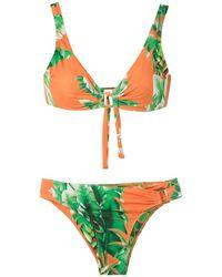 Amir Slama Floral Print Bikini Set - Groen