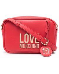 Love Moschino - Kameratasche mit Logo-Schild - Lyst