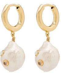 Anni Lu Gertrude Pearl Opal Hoop Earrings - Metallic