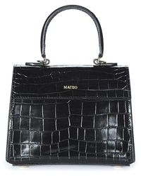 Mateo Elizabeth Croc-effect Tote - Black