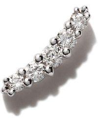 Stone Paris 18kt White Gold Line Button Diamond Earring