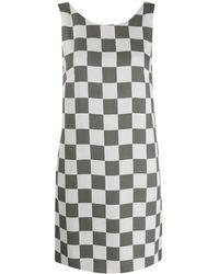 Emporio Armani ノースリーブ チェック ドレス - ホワイト