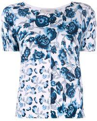 Pringle of Scotland Camiseta con flores estampadas - Azul