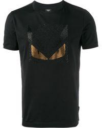 Fendi バッグバグズ クリスタル装飾 Tシャツ - ブラック