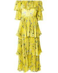 Self-Portrait - Off-the-shoulder Floral Tier Pleated Maxi Dress - Lyst