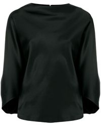 Chalayan Blusa drapeada con cuello barco - Negro