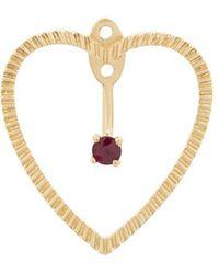 Yvonne Léon 18kt Gold And Ruby Heart Earrings - Metallic