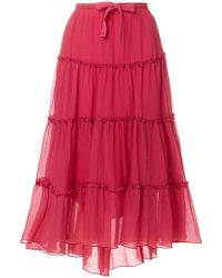 See By Chloé - Flared Ruffled Midi Skirt - Lyst