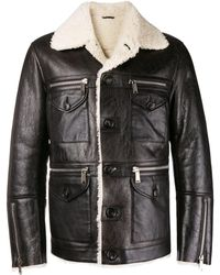 DSquared² Lambs Fur Trimmed Jacket - Black