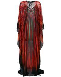 Elie Saab Long Printed Kaftan - Red