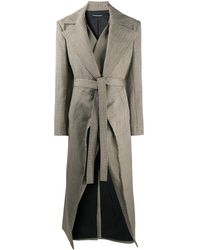 Y. Project Check-print Tie-waist Coat - Multicolour