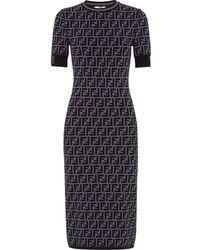 Fendi Приталенное Платье Миди С Логотипом Ff - Серый