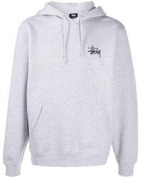 Stussy Logo-print Drawstring Hoodie - Grey