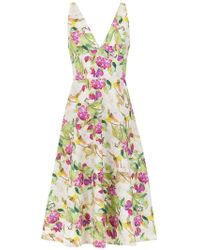 Andrea Marques - Printed V-neck Dress - Lyst