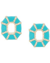 Nevernot Embellished Geometric Earrings - Blue