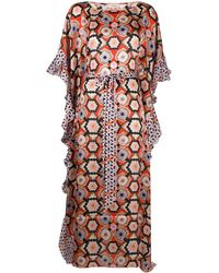 Temperley London Crochet Silk Kaftan - Blue