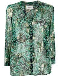 Ba&sh Quincy Floral-print Metallic Shirt - Green