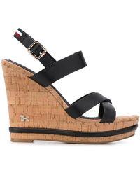Tommy Hilfiger Buckled Wedge Sandals - Black
