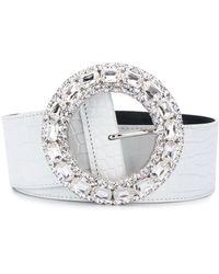 Alessandra Rich Crystal Buckle Belt - White