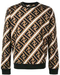Fendi Sweater Met Ff Logo Print - Bruin