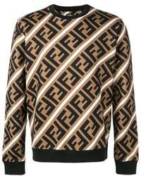 Fendi Printed Ff Logo Sweatshirt - Brown