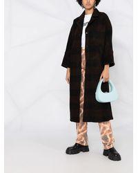 Ganni Однобортное Пальто В Клетку - Черный
