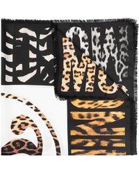 Moschino Fular con animal print - Negro